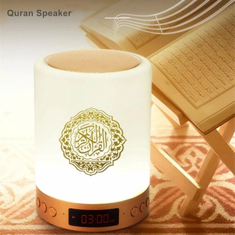 Alcorão islâmico alto-falante luz noturna mp3 coran player alcorão alto-falante com 16gb cartão de memória relógio azan veilleuse coranique