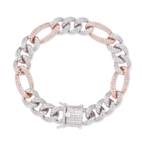 TOPGRILLZ 10mm Personality Iced Out Miami Curb Men Bracelets Gold Silver Color Hip Hop Jewelry Cuban Chain Crystal CZ Rapper