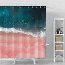 Pink Beach Printed Shower Curtain For Bathroom Waterproof Shower Curtain With Hook Polyester Bathroom Shower Curtain Home Decor beach sunlight waterproof shower curtain