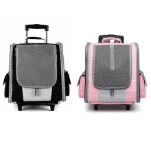 Pet Rolling Carrier Dog Backpack with Wheels Breathable Cats Puppies Travel Bag Tote Airline Approved Outdoor for Hiking Walking