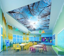 все цены на Mural Paintings Living Room Ceiling Wallpaper   art blue sky forest white clouds ceiling painting background wall онлайн
