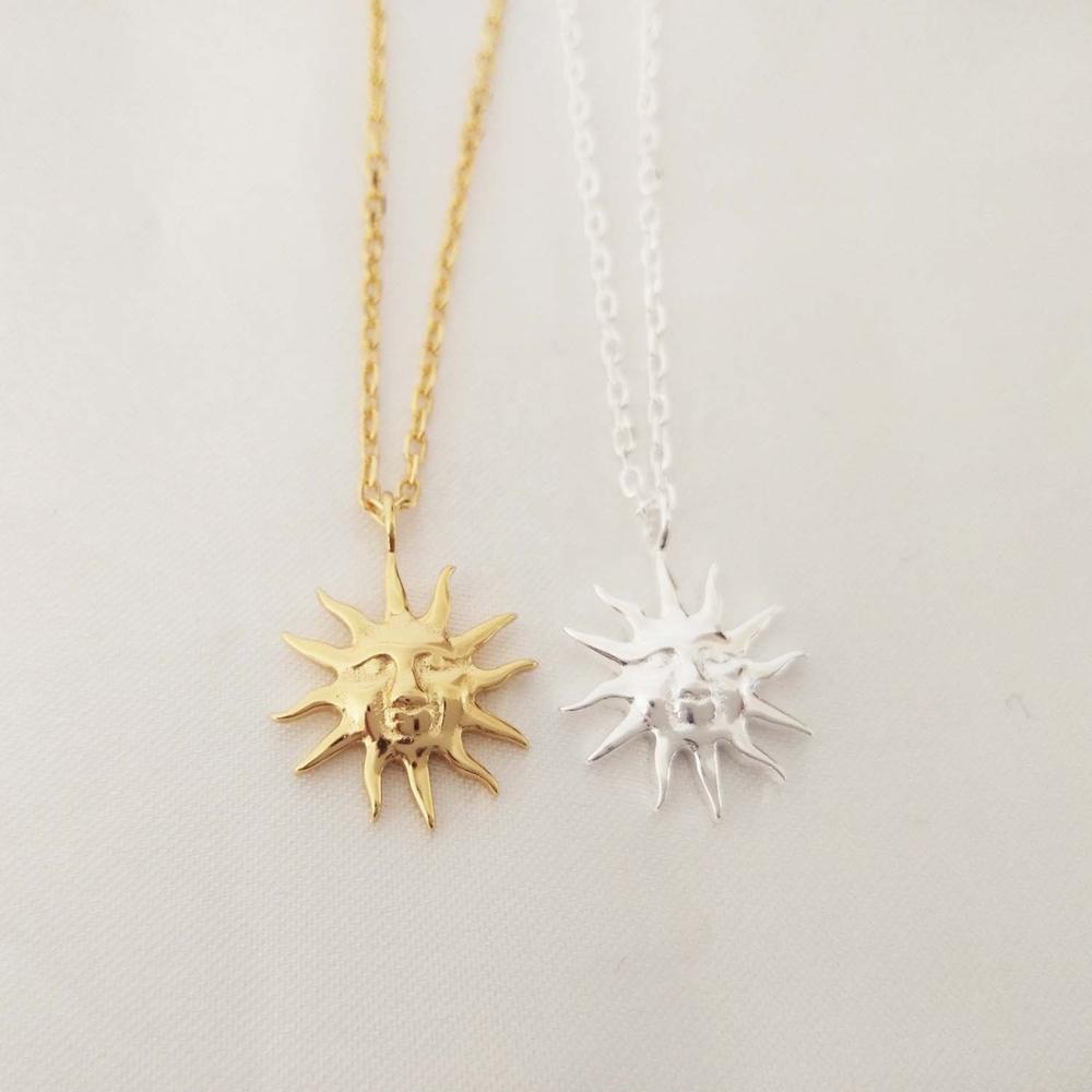 LOZRUNVE производитель ювелирных изделий 925 серебро обычный металл ожерелье «солнце» Золото оптом