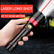 LED  flashlight Multifunction charging zoom for self-defense Laser Sight Pointer 10W High Power Dot Light Pen Powerful Meter Red Lazer