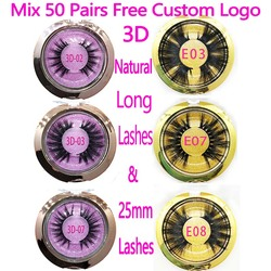 Mix 50 Pairs 3D Natural Long Lashes & 25mm Mink Eyelashes Wholesale Round Case Free Custom Packaging Makeup Mink Lashes