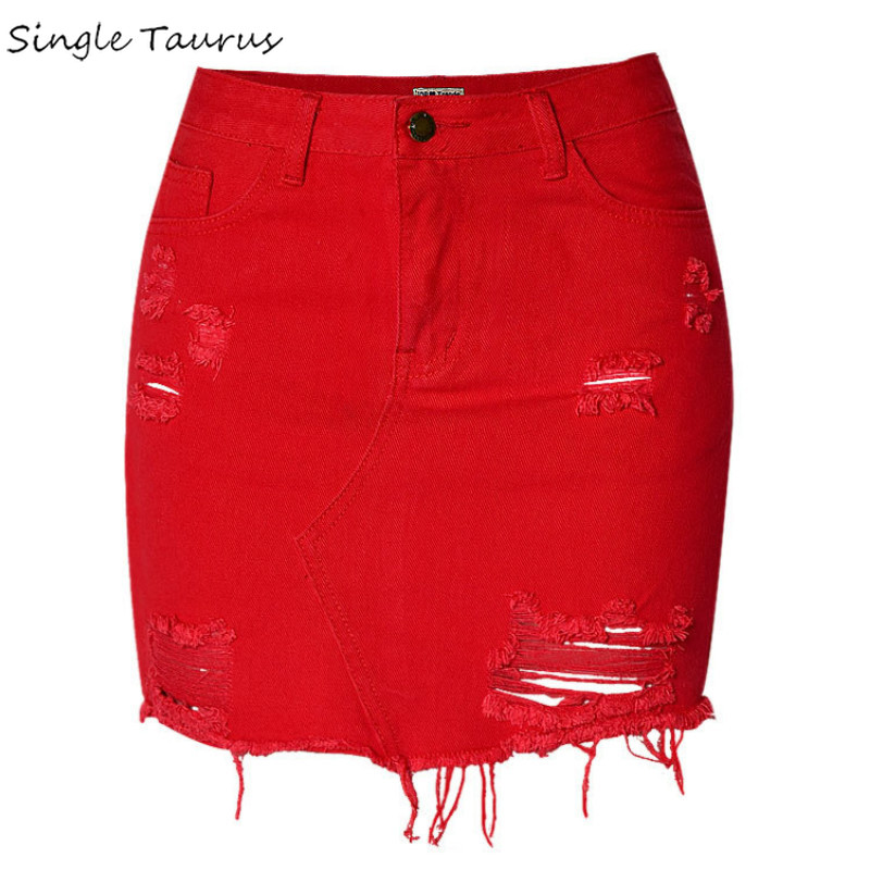 England High Waist Sexy Jeans Skirts Women Top Quality Cotton Irregular Hole Ripped Denim Skirts Mujer Red Tassel Short Saia