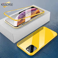 KISSCASE métal magnétique étui pour iphone X 7 8 7plus 8plus 11 Pro Max XR XS MAX étui HD verre trempé aimant housse de téléphone