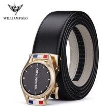 Williampolo Leather Strap Male Automatic Buckle Belts Men's Belts Ceinture Fashion Designer Jean belt PL19665-66P