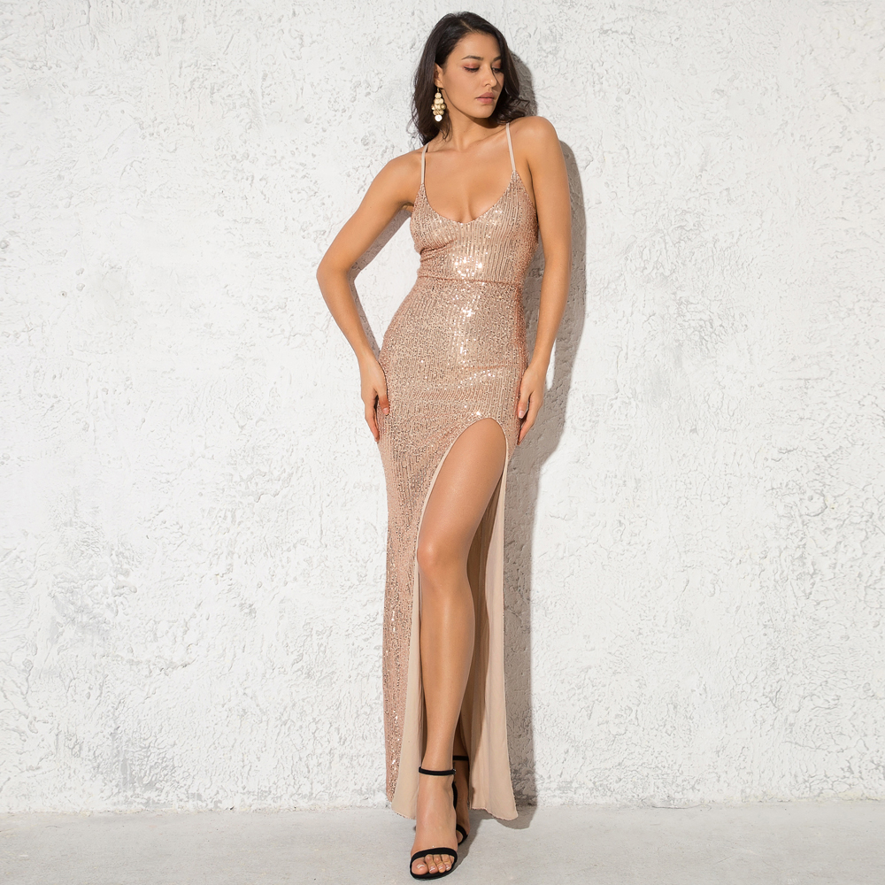 <font><b>Sexy</b></font> Gold Sequined Party <font><b>Dress</b></font> <font><b>Hollow</b></font> Out <font><b>Backless</b></font> <font><b>Lace</b></font> Up Stretch Split Leg V Neck Strappy Long <font><b>Dress</b></font> image
