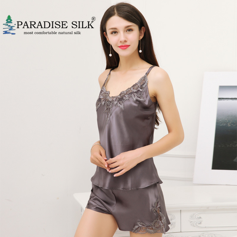 Women Silk Pajama Sets 100% Pure Silk Womens Camisole Set Exquisite Embroidery Strap Top and Shorts Silk Sleepwear Size M L XL