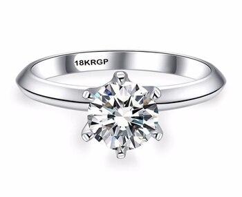 Продажа в убыток! Роскошное классическое кольцо с бриллиантом в 1 карат с сертификатом, 18 дюймов, обручальные кольца из белого золота с штампом KRGP, подарок для женщин, алиэкспресс на русском с бесплатной доставкой