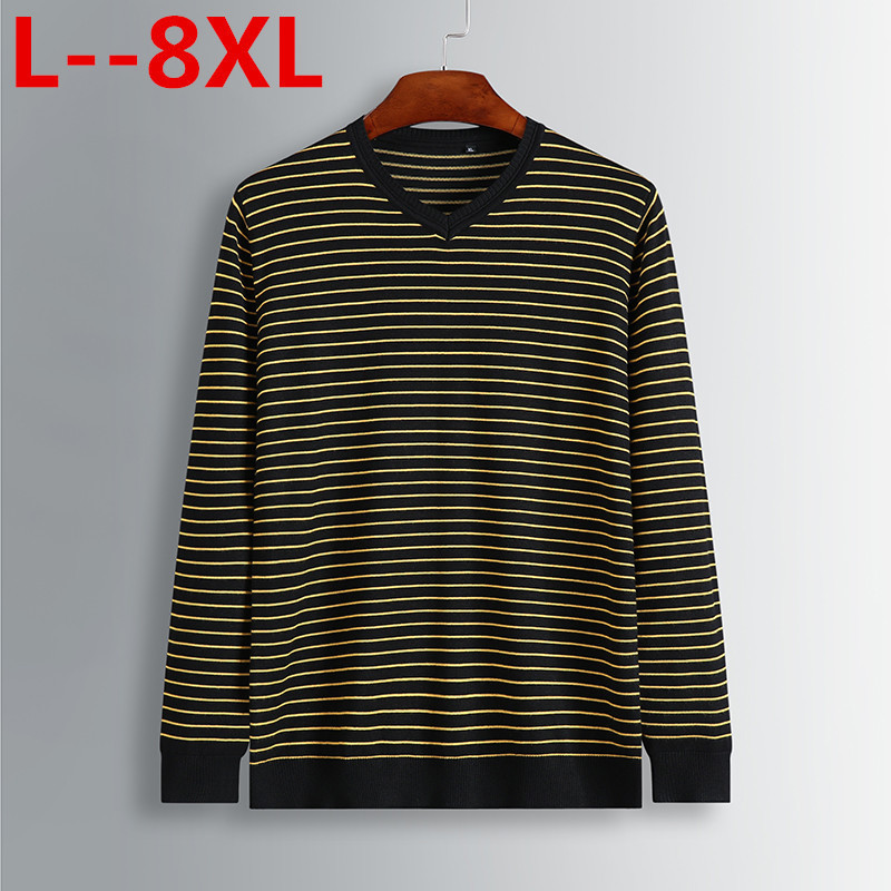 8XL 6XL 5XL 4XL Male  Men'S Fashion Mixed Colors Sweater Men Leisure Loose Pull Homme V-Neck Long-Sleeved Sweater Striped