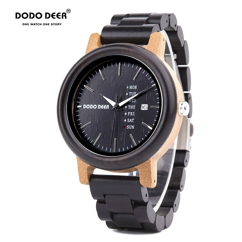 DODO DEER Couple Watches Women Mens With Week Date Creative Dial Analog Wood Quartz Wooden Watch Cool Clock Relogio Feminino B08