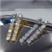 Женские серьги гвоздики золотого и серебряного цвета с цирконом
