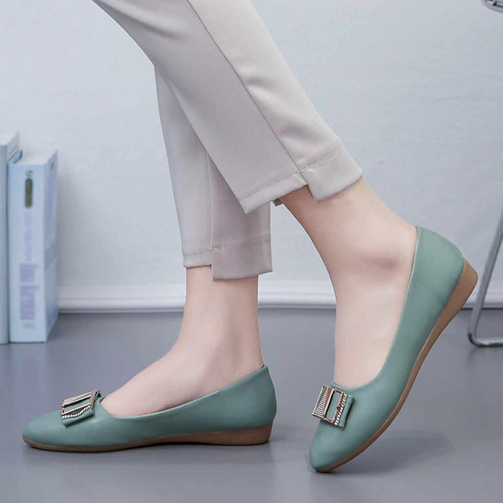 Kadın moda kristal Flats sığ sivri burun kayma düşük topuklu ayakkabılar loafer'lar Metal kayma Zapatos De Mujer aneikeh #3