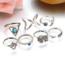 1 Juego de anillos de nudillos Vintage brillantes de noche estrellada anillo de cristal flor geométrica para mujer conjunto de joyería Bohemia 25 Set
