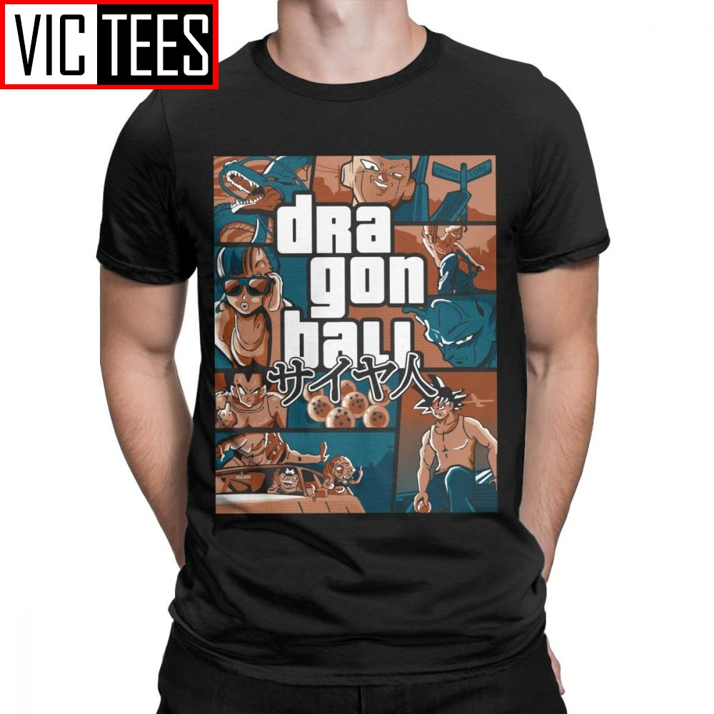 Men Grand Theft Dragon Ball Z GTA T Shirt Super Saiyan Men 100% Cotton Clothing Tees Cool Street T-Shirt