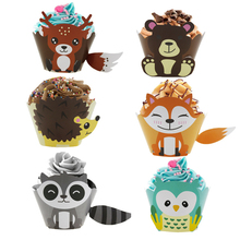 24Pcs Wrapper DIY Fox and Bear Patterned Cupcake for Home