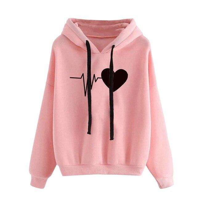 Women Hoodies Casual Love Print Solid Loose Drawstring Sweatshirt Long Sleeve Hooded 2020 Spring Autumn Female Pullover Tops 5