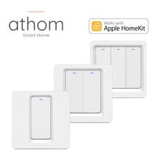 ATHOM Homekit EU WiFi Smart Switch Press Key 1/2/3 gang Siri Voice Control Neutral Needed