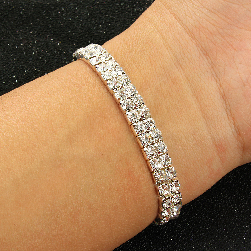 Multi FILA 6 Cristal Plata Diamante Brazalete Pulsera Elástica Boda Nupcial
