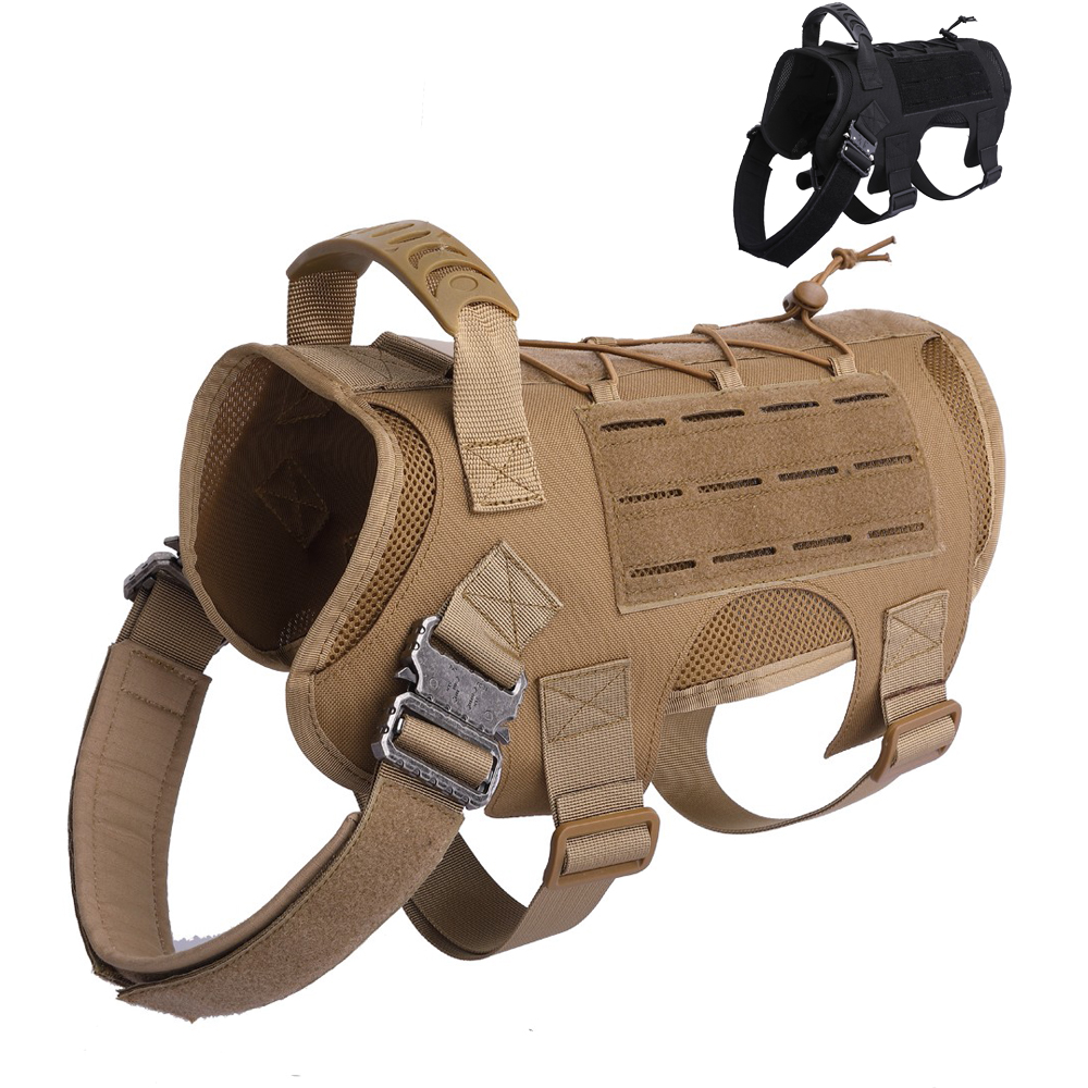 Military Dog Vest Breathable Tactical Dog Clothes Harness Adjustable MOLLE Training Harness For Service Dog