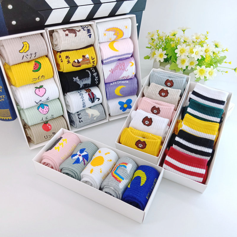 Lovely Sock Box For Ladies Casual Cotton Socks In Autumn And   Winter Mixed With Cotton Candy Color Gift Box For Ladies