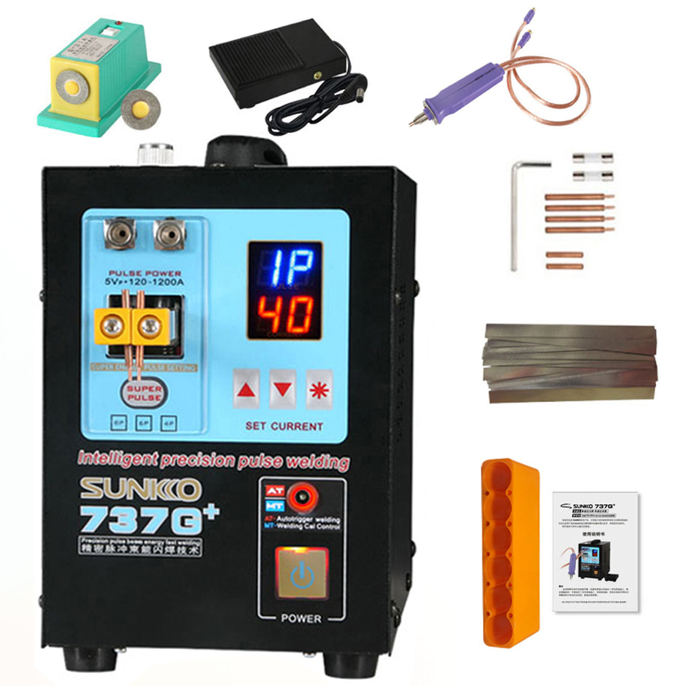 SUNKKO 737G + Battery Spot Welder Machine 4.3KW Automatic Pulse 18650 Battery Welding Machine With A High Power Spot Welding Pen
