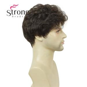 Image 5 - StrongBeauty マンリーショート茶黒ふわふわ自然な波フル強打耐熱性繊維合成かつら男性