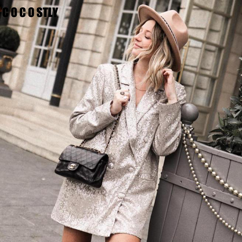 Women Autumn Long Sleeve Sequined Blazer Vintage Female Double Breasted Blazer Casual Pockets Notched Lady Outwears