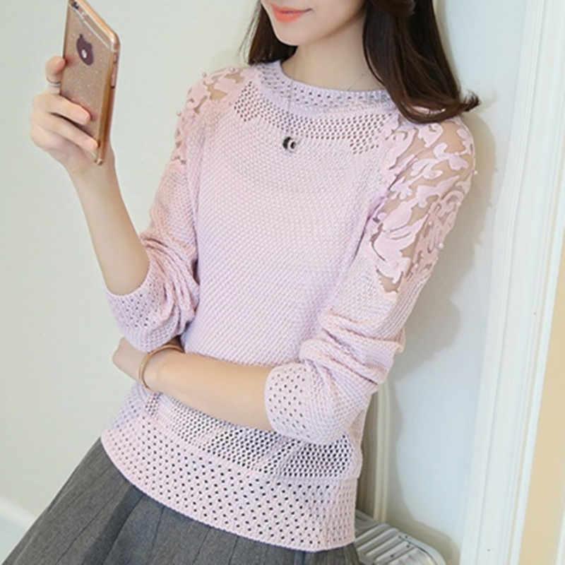 Женский свитер, джемпер, весна 2019, новая Корейская версия, свободный, кружевной рукав, бисер, полый, вязанный, пуловер, низ, свитер для женщин