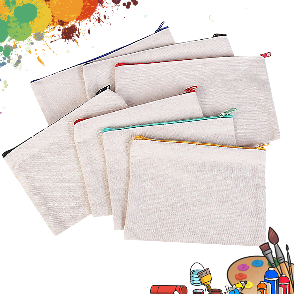 10pcs Blank Canvas Cosmetic Bags Zipper Bags Pencil Bags Blank DIY Craft Pouches  Pencil Case Coin Case Customized Canvas Bag
