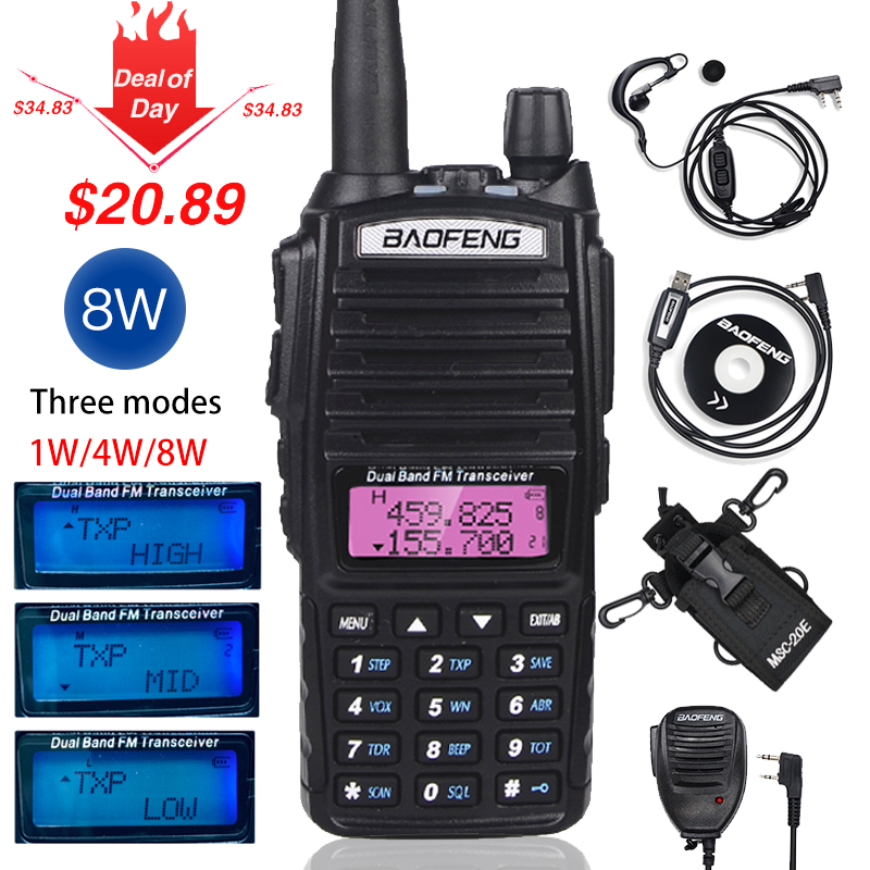 High 8W Baofeng UV-82 Walkie Talkie UV 82 Hunting Portable CB Ham Radio 10km Dual Band VHF UHF Transceiver UV82 Two Way Radio