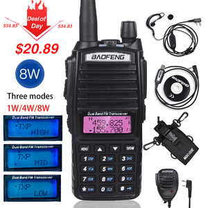 High 8W Baofeng UV-82 Walkie Talkie UV 82 Hunting Portable CB Ham Radio 10km Dual Band VHF UHF Transceiver UV82 Two Way Radio(China)