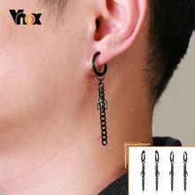 Orecchini pendenti Vnox Punk Trident per uomo, goccia a catena in acciaio inossidabile nero, gioielli Casual Unisex Rock