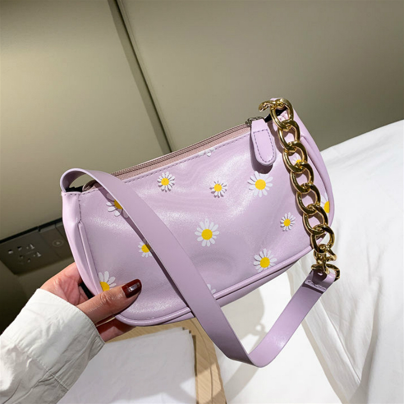Fashion Daisy Women Underarm Handbag All Match PU Leather Ladies Chain Shoulder Bags Vintage Female Baguette Travel Clutch Purse