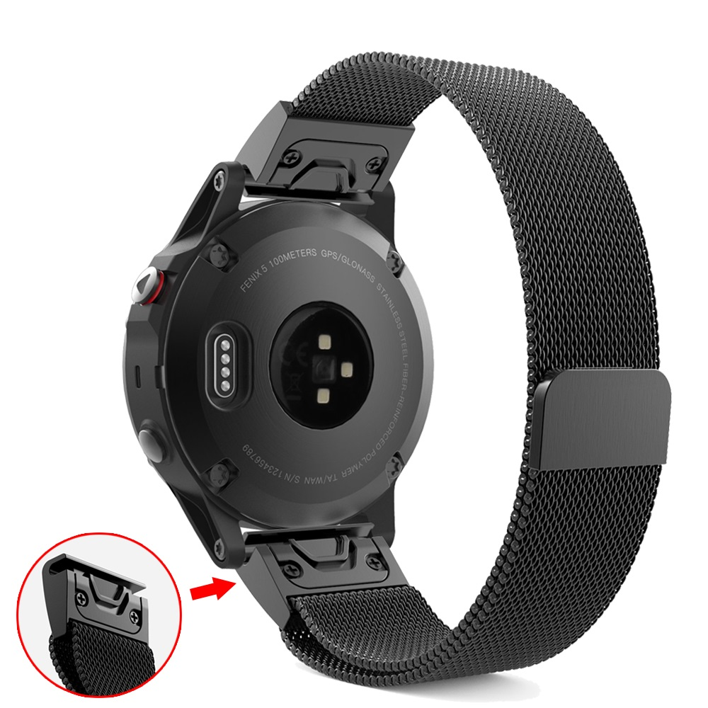 Quick Release Easy Fit Milanese Loop Band For Garmin Fenix 6X 6S 6 Pro 3 3HR 5 5X/5S Plus Magnet Strap 20/22/26mm Belt Bracelet