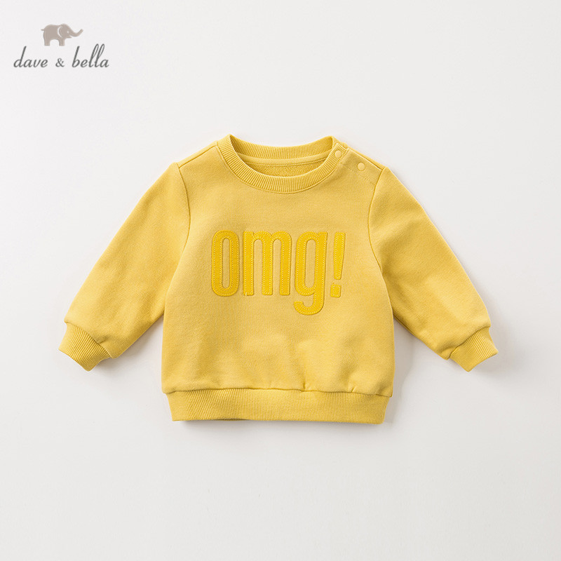 DBA10905 dave bella autumn winter baby boys solid pullover children long sleeve t-shirt infant toddler tops kids tees