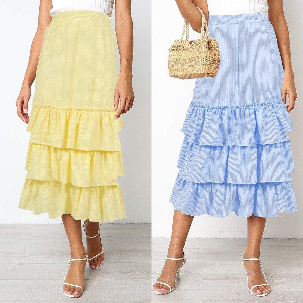 2020 Ladies Summer Skirt Women's New Two-color Striped Cake Skirt Long Skirt Summer Skirt Plus Size  High Waist Skirt