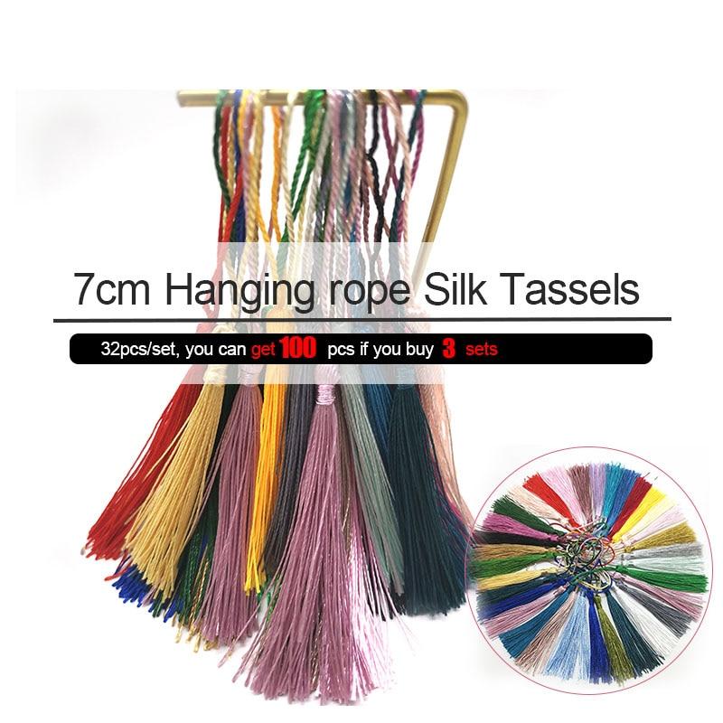 32PCS 32colors 7cm Hanging rope Silk Tassels fringe sewing bang tassel trim key tassels for DIY Embellish curtain accessories