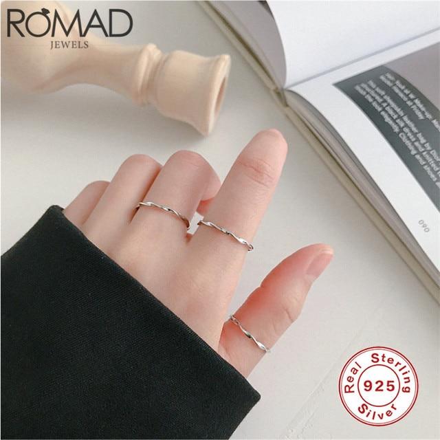 Anillo de apertura minimalista ROMAD Simple 925 anillos de plata esterlina para mujeres y niñas, anillo de dedo de giro INS, regalo de joyería de boda