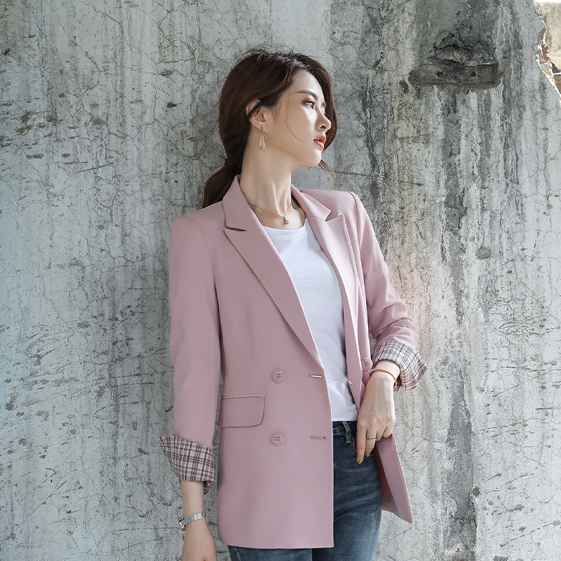 Vintage Casual Women's Jacket Fashion Double-breasted Loose Solid Color Ladies Blazer Autumn And Winter Business Office Suit