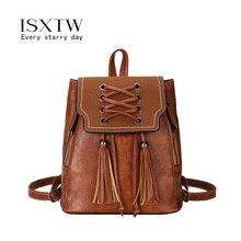 ISXTW 2019 Fashion Tassel Women Backpacks Small PU Leather Vintage Backpack Lady Shoulder Scrub Schoolbag /C15