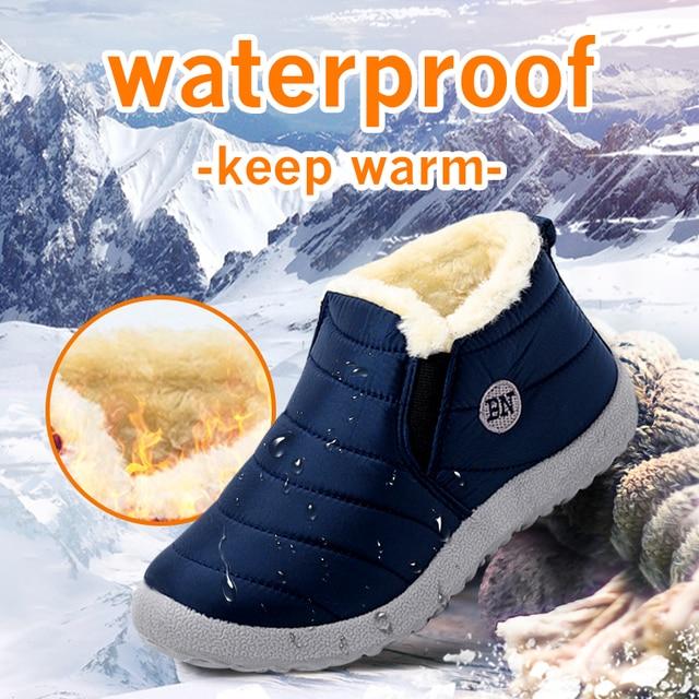 Botas de neve MCCKLE Botas femininas de pelúcia quente e pelúcia Botas femininas de inverno Calçados casuais à prova d'água Calçados ultraleves 1