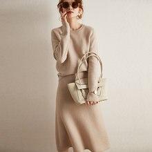 100% кашемировый свитер женский костюм платье пуловер с длинными