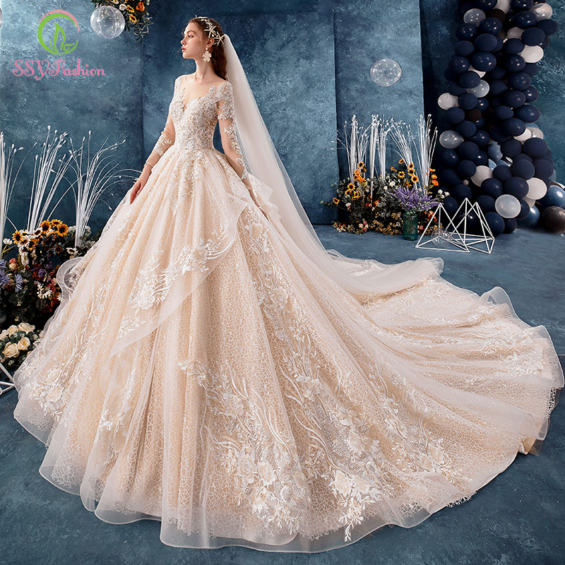 SSYFashion New Luxury Champagne Wedding Dress High-end Long Sleeve Lace Appliques Beading Long Train Ball Gown Vestido De Noiva