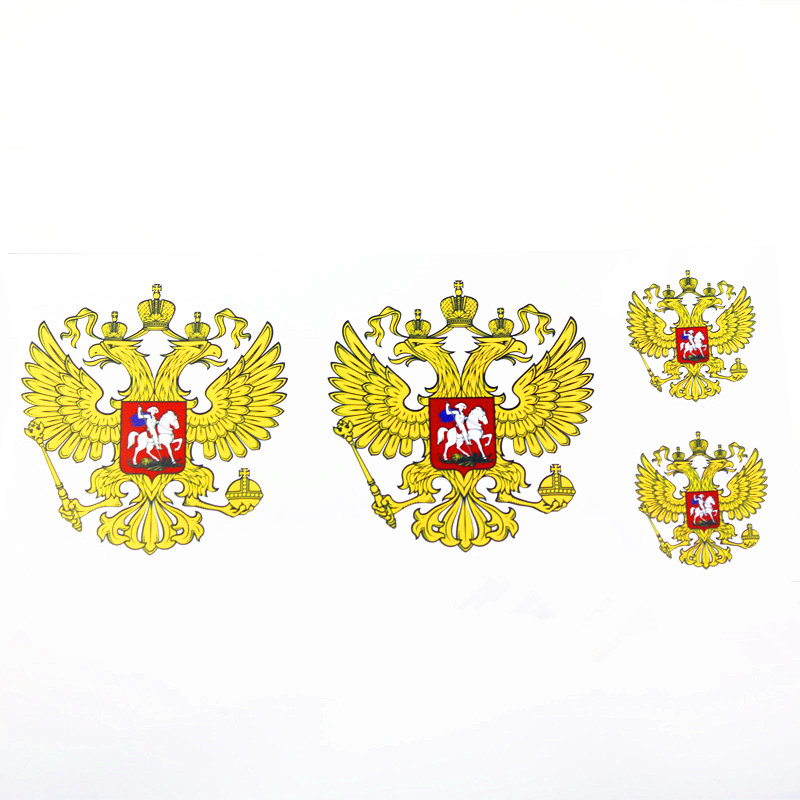 4PCS Car Stickers And Decals Motorcycle Car Styling Accessories Coat Of Arms Of Russia Russian Federation Eagle Emblem Stickers