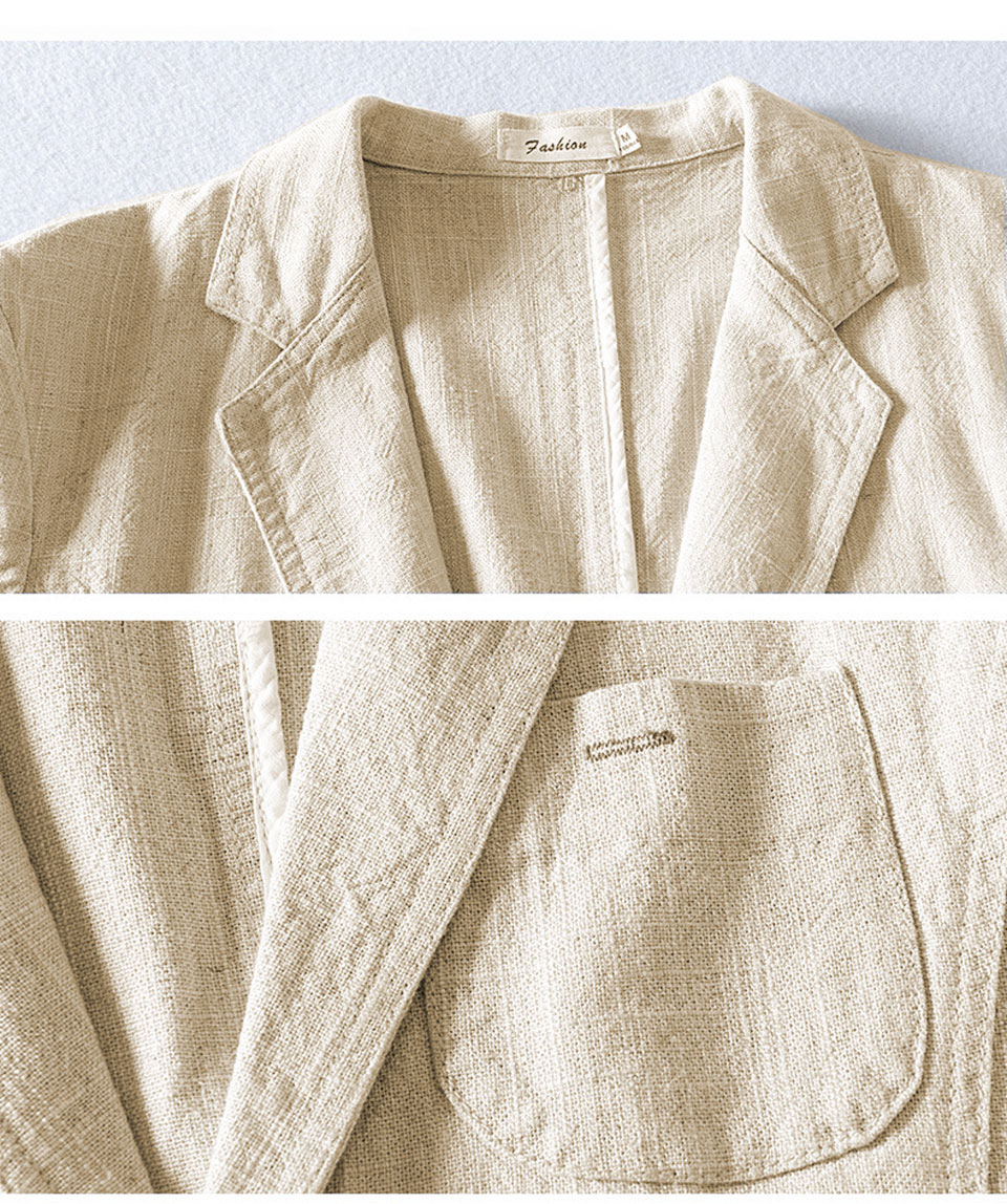 Hb961add8e0cf487bb570d0523f4e43d6R - 55% Linen 45% Cotton Breathable Anti-static Cool Man Suit Jacket Quality Casual Male Spring Autumn Single Breasted Men Blazer