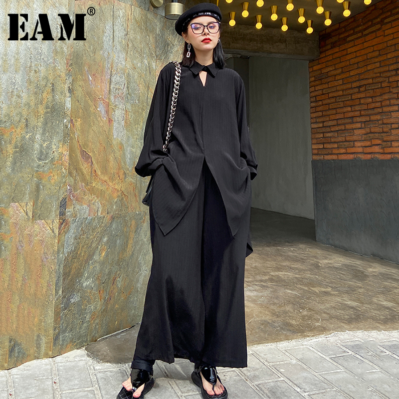[EAM] Irregular Shirt Wide Leg Pants Two Piece Suit New Lapel Long Sleeve Black Loose Fit Women Fashion Spring Autumn 2020 1S008