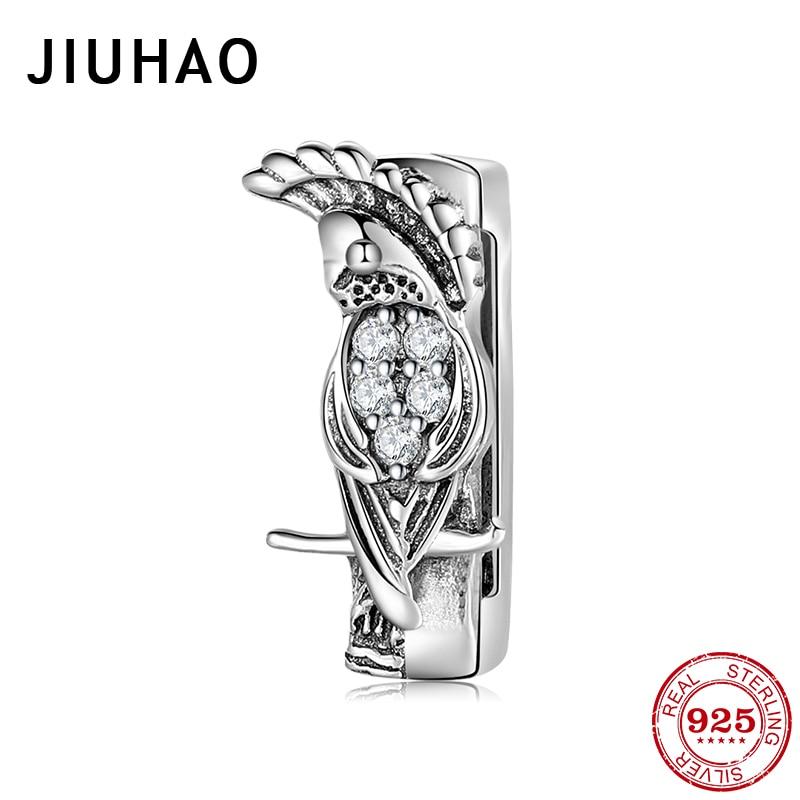 Hot 925 Sterling Silver Smart Parrot CZ Bead Charms Clip Fit Original Reflection Charm Bracelet Women Jewellery Accessories