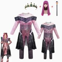 สีชมพูAudreyชุดสาวฮาโลวีนเครื่องแต่งกายสำหรับเด็กแฟนซีผู้หญิงเครื่องแต่งกายEvie Descendants 3 Malคอสเพลย์Fantasiaชุด